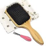 BESTOOL Haarbürste, Wildschweinborsten Bürste mit Nylonstiften, Professionelle Bambus Paddel Bürste zur Haarentwirrung und Detangling, Verbesserung der...