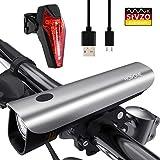 Hosome LED Fahrradlicht Set, StVZO Zugelassen USB Wiederaufladbar Fahrradbeleuchtung Set IPX5 Wasserdicht Frontlicht & Rücklichter, 50 Lux Fahrradlampe mit...