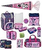 Familando Mädchen Schulranzen-Set 12tlg. Scooli Flexmax Schul-Rucksack Disney Minnie Maus mit Schultüte 85cm und Regenschutz