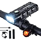 LED Fahrradlicht Set,3 Licht-Modi, IPX5 Wasserdicht 5200mAh Li-ion Licht Fahrradlichter,USB Wiederaufladbare Fahrradlampe Frontlicht Fahrradbeleuchtung für...
