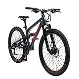 BIKESTAR Fully Aluminium Mountainbike Shimano 21 Gang Schaltung, Scheibenbremse 26 Zoll Reifen | 16 Zoll Rahmen Alu MTB Vollgefedert | Grün