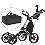 CaddyTek one Klick-klappbar, golf trolleys 4 Rad Golf Push cart,golfwagen-mit lager - tasche, silber