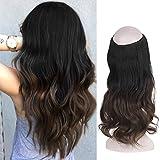 FESHFEN Halo Extensions, Haarteile Halo Haarverlängerungen Haar extension, Wavy Curly Synthetische Secret Hair Extension, 46 cm 130g
