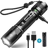 1000 Lumen BYBLIGHT F18 Taktische LED Taschenlampe, USB AUFLADBAR, IP67 Wasserdicht, HOCHLEISTUNG CREE XPG2 S3 Chip, 5 Licht-Modi mit Memory Funktion,...