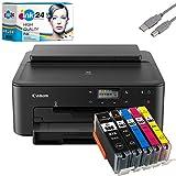 Canon PIXMA TS705 Tintenstrahldrucker schwarz + USB Kabel & 5 komp. ink24 Druckerpatronen (Drucken per USB oder WLAN) - Originalpatronen ausdrücklich Nicht im...