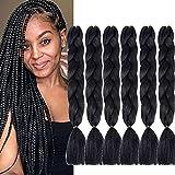 6 Packs Jumbo Flechten Haarverlängerungen (Black) Kunsthaar Ombre Zöpfe Haarverlängerungen Jumbo Braiding Haar for Crochet Box Zöpfe 100 g/pcs 24 inch (60...