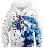 Fanient Unisex 3D Digital Druck Horse Graphic Pullover Hoodie Fashion Hoodies Sweatshirt Weiß