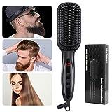 MANLI Haarglätter, Bartglätter Kamm für Männer/Damen, Glätteisen Haarbürste zum Glätten & Locken für Mänrne Bart & Damen Haar Styling