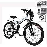 Hiriyt E-Bike Mountainbike, 250W, 36V, Rücken 7-Gang Getriebesystem Faltrad Fahrrad, Große Kapazität Pedelec mit Lithium-Akku und Ladegerät (Weiß,26')