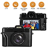 Digitalkamera, Kompaktkamera 2.7K 30MP Fotoapparat Digitalkamera 16x Digital Zoom 3 Zoll Vlog Kamera mit 180° Flip-Screen