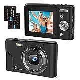 Digitalkamera 1080P FHD 2,4 Zoll Kompaktkamera, 36 Megapixel Fotokamera Mini Digital Camera mit 2 Batterien, 16X Digitalzoom Videokamera für Kinder,...