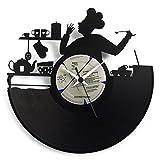 Küchenuhr Chef aus Vinyl, eine Geschenkidee für einen Koch oder die Küche, originale Uhr Vinyluse