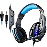 PUNICOK G9000 PS4 Gaming Headset Kopfhörer mit Mikrofon 3.5mm On Ear Surround Sound Ohrhörer und Lautstärkeregelung für PS4 Xbox One PC Laptop Tablet Mobile...