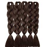 5 Packs Braids Extensions Flechten Hair Extensions Crochet Haar Kunsthaar Kanekalon Colorful 5pcs-24'-500g Mittelbraun
