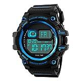 TY-JFSM Herrenuhr Multifunktions-Sportuhr LED-Uhr Outdoor Bergsport Stoßfest Uhr (Farbe : Blue)