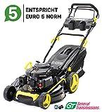 Craftfull Premium Benzin Rasenmäher 5in1 - Euro 5-4,4 Kw 6 Ps - 196 ccm 4-Takt Motor - GT Markengetriebe - 53 cm Schnittbreite - Selbstantrieb - Easy Clean...