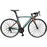 Rennrad, 22 Geschwindigkeit Leichte Aluminium-Straßen-Fahrrad, Männer Frauen Rennrad, Carbon-Faser-Gabel, Stadt-Pendler-Fahrrad, Blau, 470 Geeignet für...