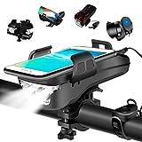 HJHY 4 in 1 Fahrradlicht, USB Wiederaufladbar LED Fahrradbeleuchtung Set, IP65 Wasserdicht Haben DREI Beleuchtungsmodi Können als Fahradlicht, Handyhalterung,...