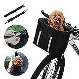 ANZOME Hunde Fahrradkorb, Hundekorb Fahrrad vorne, Abnehmbare Hundetasche für Kleiner Hund-Haustier-Einkaufen-Picknick, mit Lenkeradapter, Kabelbinder,...