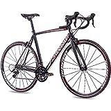 CHRISSON 28 Zoll Rennrad Road Bike - Reloader schwarz 56 cm mit 18 Gang Shimano Sora Schaltung - Straßenrennrad mit Carbon Gabel für Damen und Herren