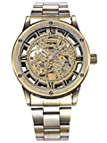 Alienwork Retro Herren Damen mechanische Automatik-Uhr Bronze mit Edelstahl Metallarmband