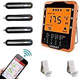 Bratenthermometer Rilitor Digital Grillthermometer mit 4 Sonden Wireless Ofenthermometer Küchenwecker Fleischthermometer für BBQ, Garraum, Smoker, Steak,...