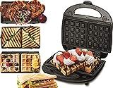 3 in 1 Sandwich Maker | Kontaktgrill | Waffeleisen | Sandwichmaker | Multigrill | Grill | 730 Watt | Thermostat | Edelstahlgehäuse | Antihaftbeschichtet |...