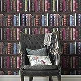 Fresco Bücherregal, Bücherregal, Bibliothek, Tapete, Grün / Rot / Pink