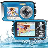 Unterwasserkamera Full HD 2.7K 48MP Unterwasser Kamera zum Schnorcheln wasserdichte Digitalkamera mit Zwei Bildschirmen, Selbstauslöser und 16-fachem...