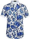 SSLR Herren Hawaiihemd Kurzarm Blumen Druck Baumwolle Freizeithemd Button Down Aloha Shirts (XX-Large, Blau (068))