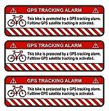 Finest-Folia 3X GPS Aufkleber Fahrrad Motorrad Auto Alarm Warnung Anti Diebstahl Sticker Tracker gesichert R055 (Weiß, Fahrrad)