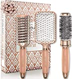 Haarbürste Set mit Rundbürste, Paddle Brush und Skelettbürste | Stets die Perfekte Bürste für ein professionelles Haar Styling in glamourösem Rosegold,...