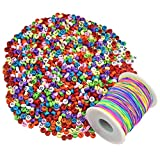 baotongle 1200 Stück Bunte Buchstaben Perlen Rund Zum Auffädeln mit 100 m Elastisch Schnur,Rund Alphabet Perlen Mehrfarbig Für die Herstellung von...