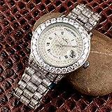 ZYYDTY Automatikuhr Luxusmarke Herren Silber Volldiamanten Uhr Automatik Mechanik Edelstahl Saphirglas Römisches Zifferblatt Uhren