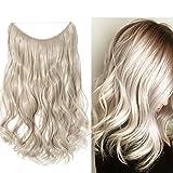 Haarteil Extensions Haarverlängerung 1 Tresse Haare Haarverdichtung Gewellt mit Unsichtbarer Draht Aschblond Mix Silbergrau Wavy-50 cm-90g