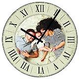 Personello Retro-Wanduhr mit Foto, Fotouhr mit Römischen Zahlen (29x29cm), Vintage Uhr Ohne Ticken, Personalisiert