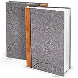 XXL Notizbuch Filz-Optik grau-braun DIN A4 164 leere weiße blanko Seiten Tagebuch groß Blanko-Buch Einschreibbuch gebunden Geschichte selber-schreiben -...