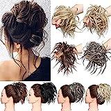Hair Extensions XXL Haarteil Haargummi Hochsteckfrisuren Brautfrisuren VOLUMINÖS gewellter unordentlicher Dutt Scrunchie Mittelbraun