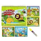 Sipobuy Magie Wasser Zeichnung Buch Wasser Malbuch Doodle mit Zauberstift Malbrett Für Kinder Bildung Zeichnung Spielzeug (Tierwelt)