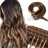 Echthaar Extensions Microring Extensions Echthaar 0,5g/Strähne 100 Strähnen/Packung Weich Haarverlängerung Glatt Haarteil 7A Human Hair 50g 40cm-4P27#...