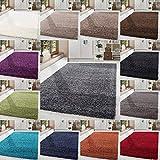 HomebyHome Shaggy Hochflor-Teppich Langflor Wohnzimmerteppich Soft Einfarbig in 14 Farben, Farbe:Grün, Grösse:140x200 cm