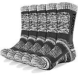YUEDGE Wandersocken, 3/5 Paar atmungsaktive Laufsocken für Herren, Sport Socken mit Sohle und Knöchel, Anti-Blister Trainersocken Dark Gray XL