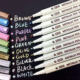 Metallic Marker Pens, 10 Farben Metallic Stifte, 1mm Feine Maker Stift für Fotoalbum Schwarze Seiten, Gästebuch Hochzeit, Kalender 2020 2021, Bullet Journal,...