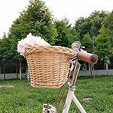 YABIN Fahrradkorb Vorne Rattan Hollandrad, Festmontage Fahrradkorb Kinder Fahrradsitz Puppe Mädchen,Abnehmbar Hundekorb Fahrrad Vorne, Groß Fahrrad Korb...