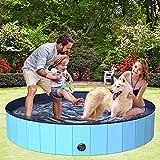 BOIROS Hundepool 160cm, Hundepool fur Große & Kleine Hunde, Schwimmbecken für Hunde, Hunde Planschbecken für Kinder und Hunde, PVC tragbare Faltbare Hunde...