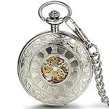 JewelryWe Klassiker Retro Taschenuhr römische Ziffern Herren Handaufzug mechanische Kettenuhr Skelett Uhr mit Halskette Kette Umhängeuhr Silber