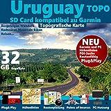 Uruguay Karte TOPO microSD. Topografische GPS Freizeitkarte für Fahrrad Wandern Touren Trekking Geocaching & Outdoor. für Garmin Navigationsgeräte, PC & MAC