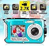 Unterwasserkamera wasserdichte Digitalkamera Unterwasserkamera FHD 2.7K 48MP Videorecorder Camcorder Selfie Dual Screen wasserdichte Kamera zum Schnorcheln 10...