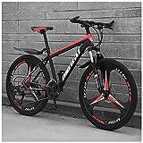 ZMCOV 24/26 Zoll Mountainbikes, Fahrräder Mit Vorderradaufhängung, Hardtail MTB Aus Kohlenstoffstahl, 3 Speichen,24 Speed,24Inch