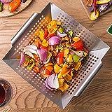 GrillKorb, RUN ANT Gemüsekorb aus Edelstahl Großer Rost Korb Grillschale Grillpfanne Grillzubehör für Gemüse, Fleisch, Fisch, Garnelen, Obst, einfache...